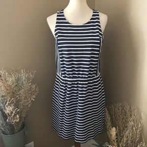 Loft Blue & White Sleeveless Striped Mini Dress